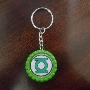 Green Lantern Bottle Cap Keychain